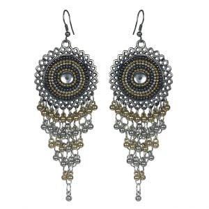 Elegant Dual Tone Jhalaar Dangler Earrings Main Image