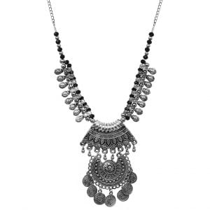 Oxidised Silver Tribal Boho Antique Necklace Main Image
