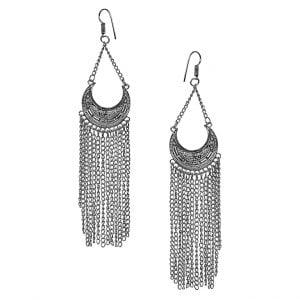 Boho Asymmetrical Metallic Chain Dangler Earrings Main Image