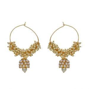 Gold Plated Seed Bead Pearl Hoop Earrings Main Image