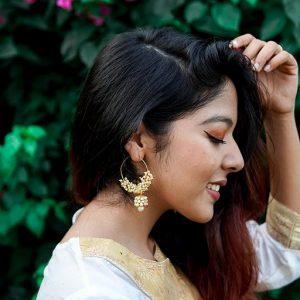 Gold Plated Seed Bead Pearl Hoop Earrings Lifestyle Image