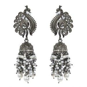 Kundan Peacock Jhumka Traditional Black Metal Earrings Main Image