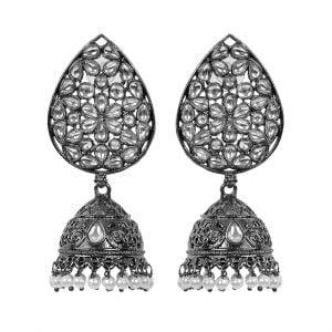 Kundan Studded Jhumka Black Metal Earrings - Tear Drop Main Image