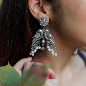 Oxidised Silver Boho Quirky Parrot Pearl Hanging Earrings Lifestyle Image