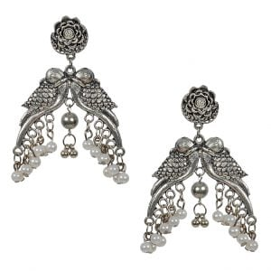Oxidised Silver Boho Quirky Parrot Pearl Hanging Earrings Main Image