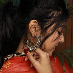 Boho Oxidised Silver Thick Band Hoop Earrings Lifestyle Image