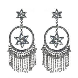 Kundan Studded Star Dangler Silver Hoop Earrings Main Image