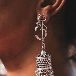 Moksha Om Brass Jhumki Lifestyle Image