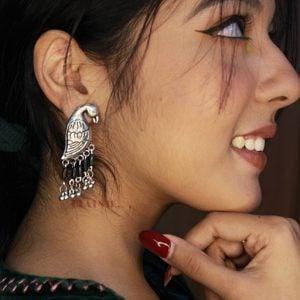 Statement Dailywear Black Beads Bird Earrings Lifestyle Image