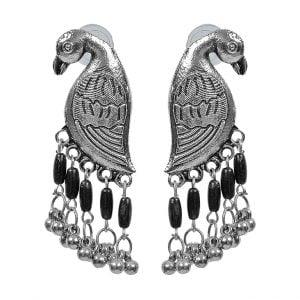 Statement Dailywear Black Beads Bird Earrings Main Image