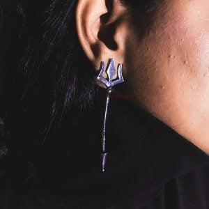 Statement Moksha Trishul Stud Earrings Lifestyle Image