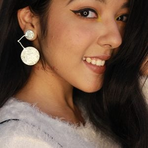 Statement Silver Stud Earrings Lifestyle Image