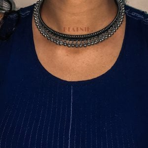 Boho Tribal Oxidised Silver Choker Hasli Necklace Lifestyle Image
