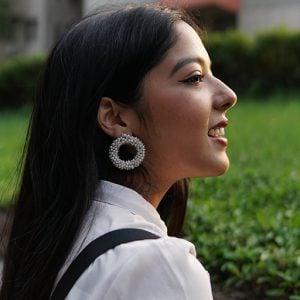 Classy Clustered Seed Beads Hoop Studs Earrings Lifestyle Image