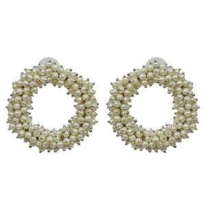 Classy Clustered Seed Beads Hoop Studs Earrings Main Image