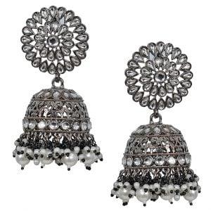 Kundan Studded Round Jhumka Traditional Black Metal Earrings Main Image