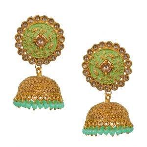 Mint Meena Traditional Filigree Antique Golden Jhumka Main Image