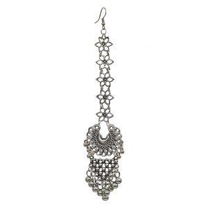 Oxidised Silver Chandbali Style Antique Maang Tikka Main Image