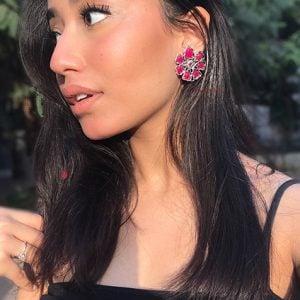 Oxidised Silver Ruby Stone Stud Earrings Lifestyle Image
