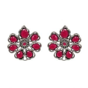 Oxidised Silver Ruby Stone Stud Earrings Main Image