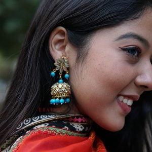 Traditional Kundan Studded Lighweight Blue Beads Jhumki Lifestyle Image