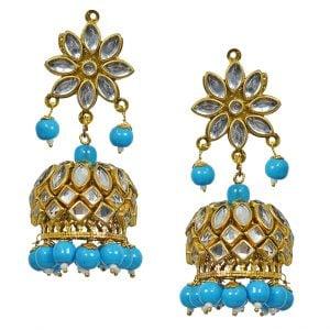 Traditional Kundan Studded Lighweight Blue Beads Jhumki Main Image