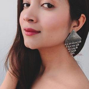 Triangular Hanging Metallic Beads Stud Earrings Lifestyle Image