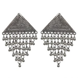 Triangular Hanging Metallic Beads Stud Earrings Main Image