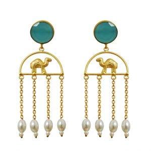 Gold Matte Plated Camel Motif Tassel Danglers – Turquoise Main Image