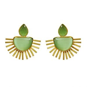 Gold Matte Plated Spiked Green Statement Studs Main Image