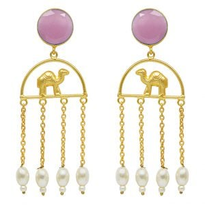 Gold Matte Plated Camel Motif Tassel Danglers – Pink Main Image