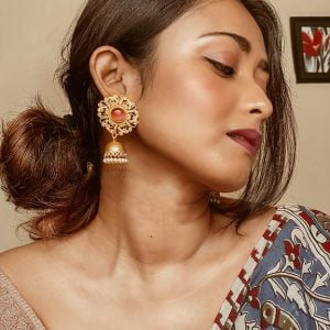 Gold Matte Plated Red Stone Jhumki Lifestyle Image