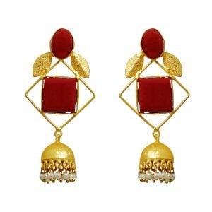 Gold Matte Plated Stark Red Geometric Jhumki Main Image