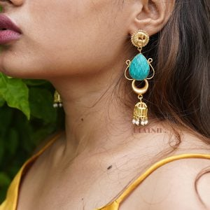Gold Matte Plated Turquoise Stone Drop Earrings Lifestyle Image