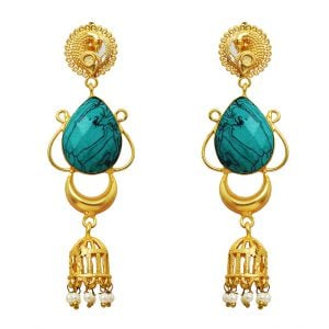 Gold Matte Plated Turquoise Stone Drop Earrings Main Image