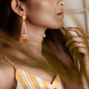 Mellow Yellow Gold Matte Plated Statement Drop Earrings Lifestyle Image