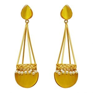 Mellow Yellow Gold Matte Plated Statement Drop Earrings Main Image