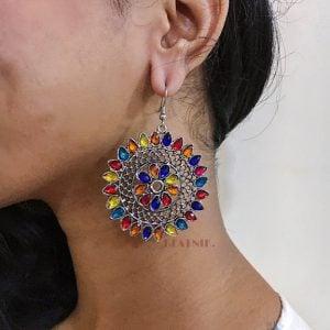 Multicolour Studded Round Dangler Earrings Lifestyle Image