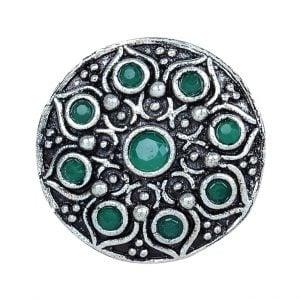 Oxidised Silver Green Stone Studded Ring – Adjustable Leaf Main Image