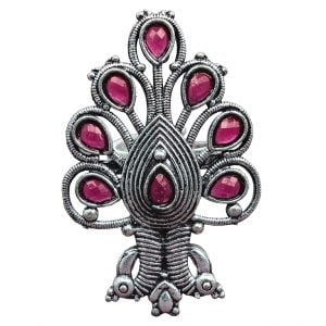 Oxidised Silver Ruby Peacock Statement Ring – Adjustable Main Image