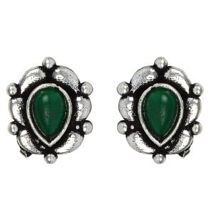 Silver Plated Small Stud Earrings- Green Pod Main Image