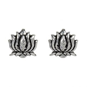 Silver Plated Small Stud Earrings- Lotus Main Image