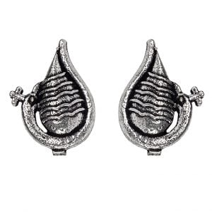 Silver Plated Small Stud Earrings- Shankh Main Image
