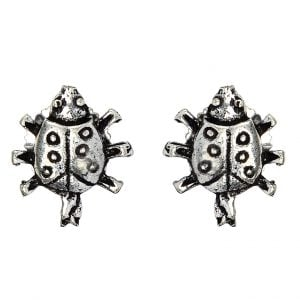Silver Plated Small Stud Earrings- Turtle Main Image