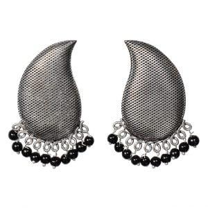 Silver Textured Black Beads Stud Earrings Main Image