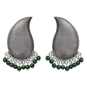 Silver Textured Green Beads Stud Earrings Main Image