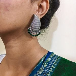 Silver Textured Green Beads Stud Earrings Lifestyle Image