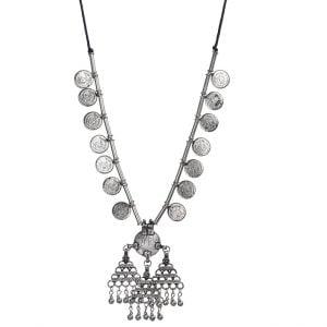 Banjaran Coin Brass Silver Oxidised Necklace Main Image