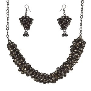 Ghungroo Embellished Black Metal Necklace Earrings Choker Set Main Image
