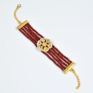 Gold Plated Ruby Beaded Traditional Bracelet – Adjustable Main Image